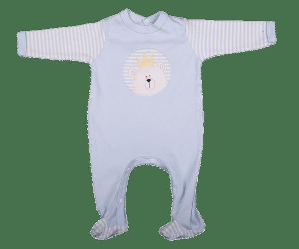Embroidered Bear Babygro blue