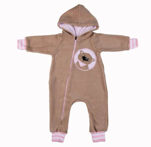 Caramel Bear Zip BabyGro - Pink