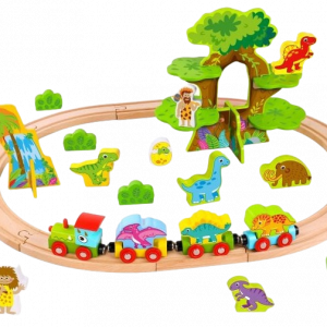 wooden dinosaur train set